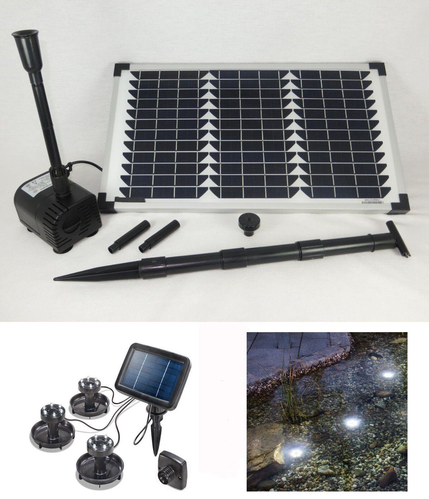 20 W estanque solar bomba Tauch + iluminación LED jardín emisor estanque pumpenset