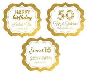 24 Metallic Gold Silver Foil Personalized Birthday Party Favor Stickers Q21086