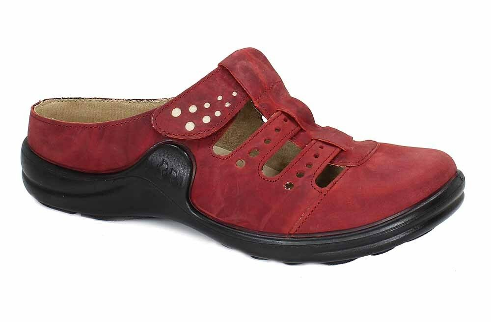 Romika Clogs Pantoletten MADDY 20 rot Leder Klettverschluss 10220 NEU 2017