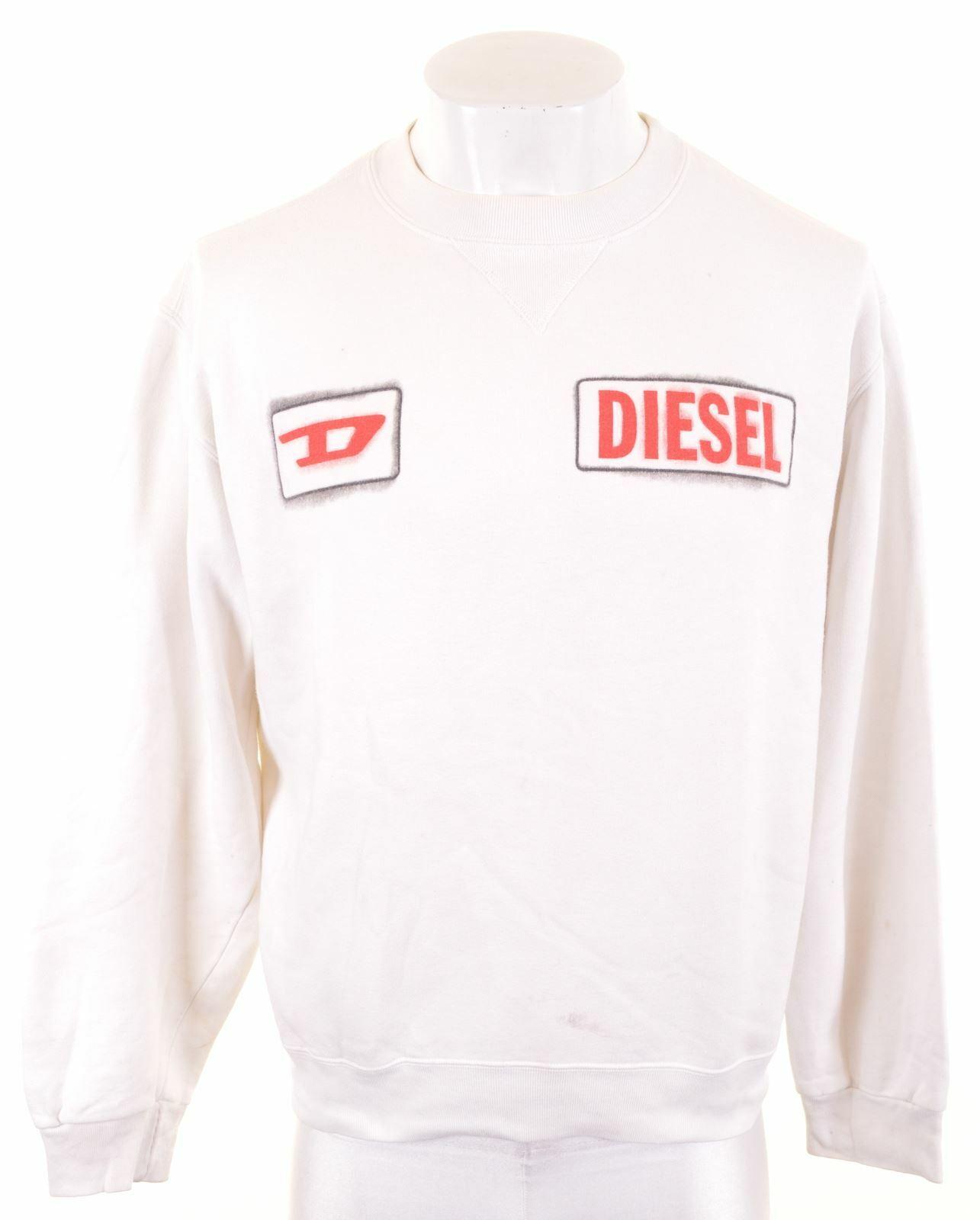 DIESEL Mens Sweatshirt Jumper Large White Cotton JZ16