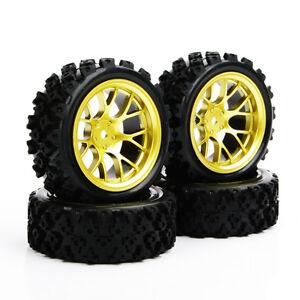 4Pcs-neumaticos-de-goma-Rally-1-10-oro-Rueda-Llanta-amp-Neumaticos-para-HSP-RC-coche-de-carreras-off
