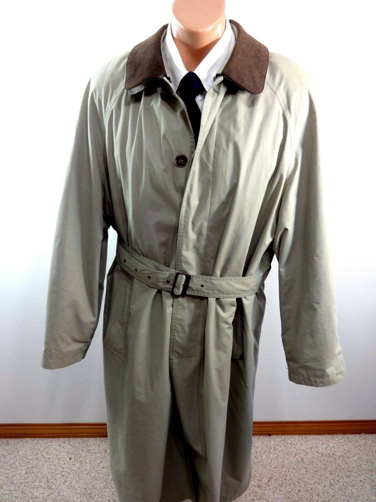 RAINMAN LONDON MENS KHAKI BELTED TRENCH COAT WITH REMOVABLE SATIN LINER SIZE 42S