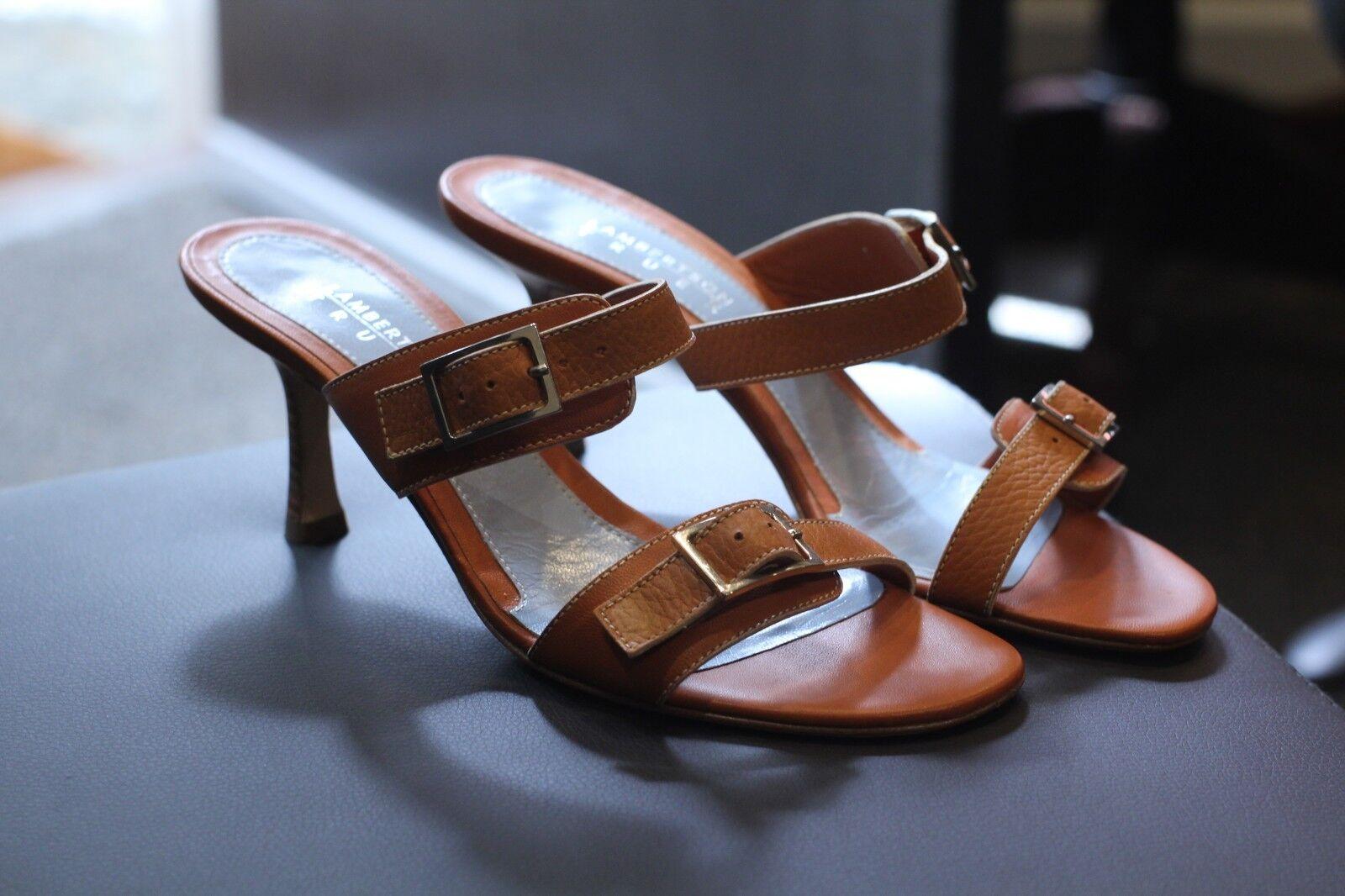 Lambertson Truex Light Brown Cognac Leather Sandals shoes Heels New Size 8.5