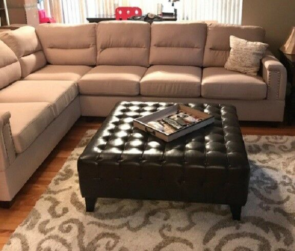Phenomenal Large Bonded Faux Leather Ottoman Coffee Table Tufted Square Brown Living Room Machost Co Dining Chair Design Ideas Machostcouk