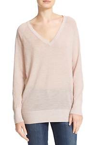 Equipment NWT  268 Asher V-Neck Wool Blend Sweater Ivory-Pink Lurex Size Large L