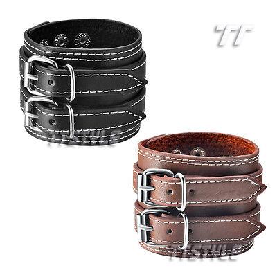 TTstyle Punk Leather Double Clasp Bracelet Wristband Choose Leather Colour