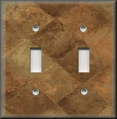 Metal Light Switch Plate Cover - Home Decor Tuscan Tones Block Rustic Brown