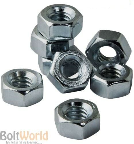 METRIC HEXAGONAL STEEL FULL NUTS HIGH TENSILE GRADE 8 BRIGHT ZINC PLATED DIN 934