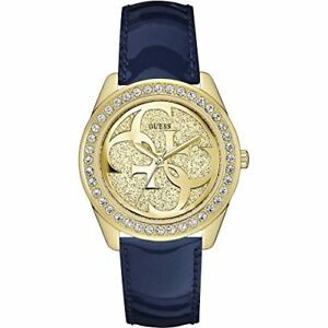 NEW-GUESS-LADIES-W0627L10-ROUND-GOLD-DIAL-LEATHER-BLUE-BAND-WATCH