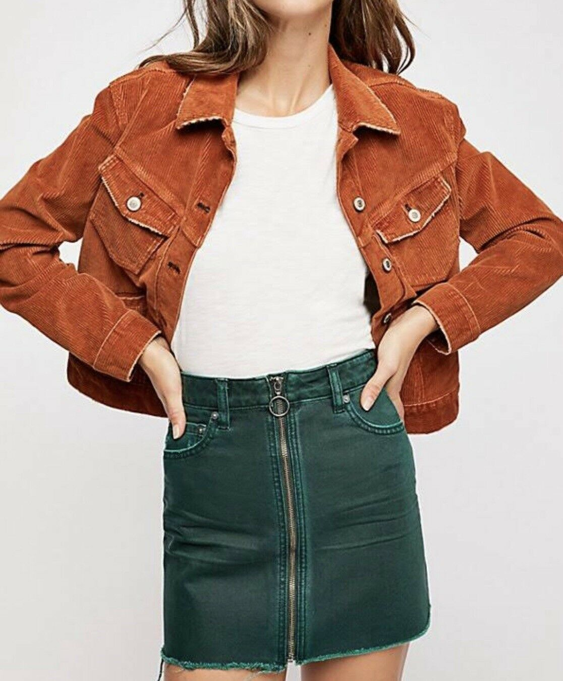 Free People Zip It Up Mini Skirt. color Wilderness. Size 25