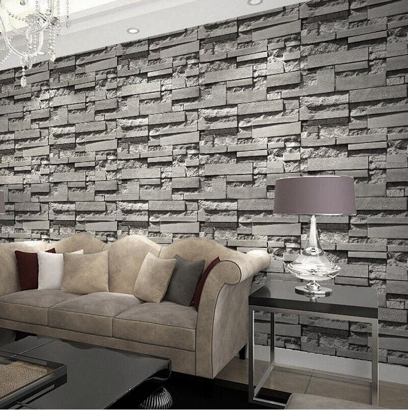 Modern Retro 3d Wallpaper Bedroom Living Slate Dark Grey Brick Effect Stone Wall For Sale Online Ebay
