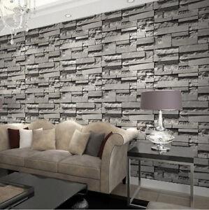 Details About Modern Retro 3d Wallpaper Bedroom Living Slate Dark Grey Brick Effect Stone Wall