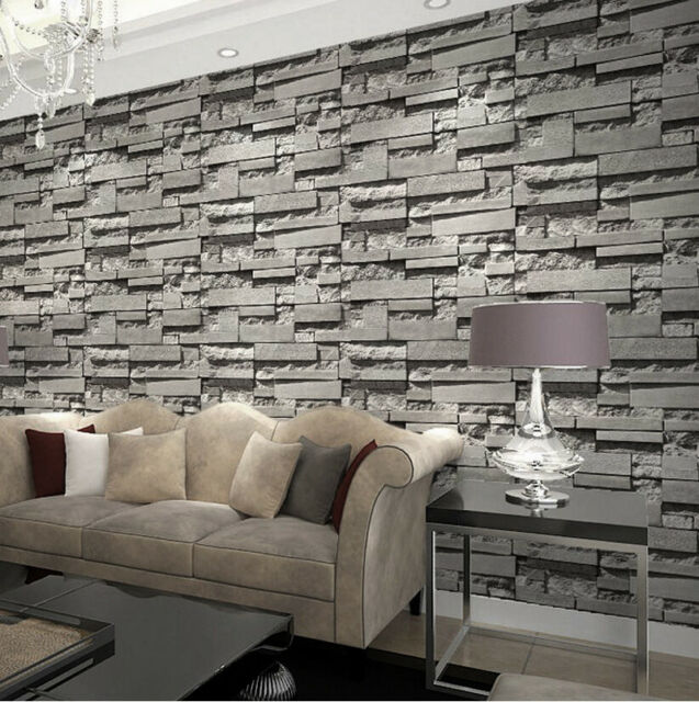 Modern/retro 3d Wallpaper Bedroom Living Slate Dark Grey