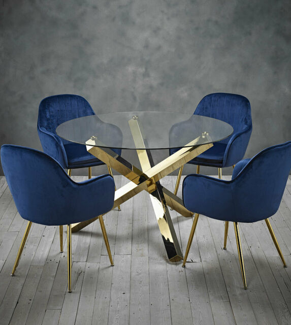 Outstanding Dining Set Round Glass Table With Gold Legs And 4 Blue Velvet Dining Chairs Dailytribune Chair Design For Home Dailytribuneorg