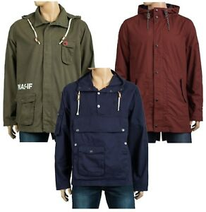 New-Mens-Masif-Smock-Canvas-Casual-Long-Sleeve-Jacket-Parka-Hooded-Regular-Fit
