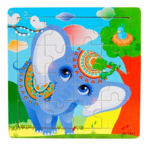 16 Piece Wooden Jigsaw Puzzles Toys with Animals For Kids Education And Learning