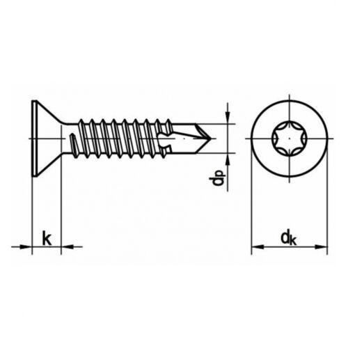TORX® verzinkt 250x DIN 7504 Bohrschrauben-Blechgewinde 6.3 x 60 Stahl galv
