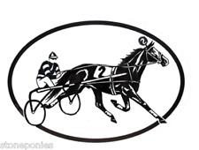 Equine Discipline Oval Vinyl Decal Black & White Sticker - Harness Racer Trotter