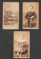 3 Vintage Cabinet Cards Victorian Photo Children Massachusetts Nebraska Studios