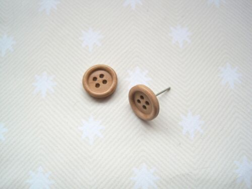 *CHUNKY PALE LIGHT WOOD BUTTON* 12mm Small Silver Plated STUD Earrings Wooden