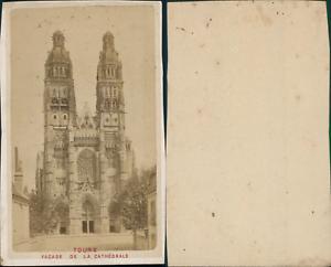 France-Tours-facade-de-la-cathedrale-Vintage-CDV-albumen-carte-de-visite