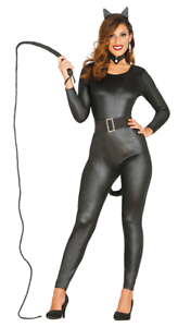 f141e08464 Image is loading Womens-Black-Catwoman-Costume-Catsuit-Ladies-Fancy-Dress-