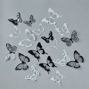 Image Is Loading 18pcs Black White Erfly Crystal Decor Wall