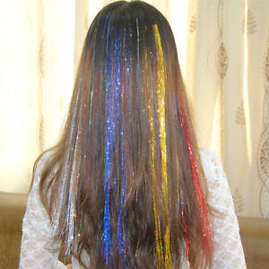 Image Is Loading 1 Pack Spiral Rainbow Hair Tinsel Silk Bling