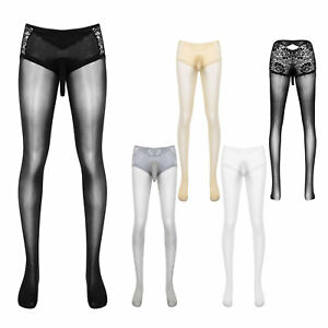 Mens See-through Lace Stretchy Pantyhose Tights Hosiery Long Johns Skinny Pants