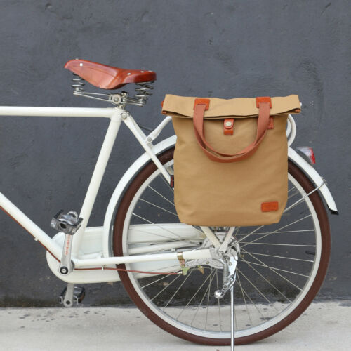 Tourbon Vintage Canvas Bicycle Bike Rear Seat Carrier Pannier Bag Brown Cycling