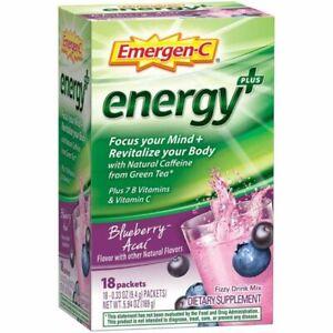 Emergen-C Energy Plus 250mg Energy Drink Mix Blueberry Acai 18 Pack