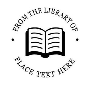 FROM THE LIBRARY OF Round Custom  OPEN BOOK Logo NAME Embosser Shiny Seal Hand