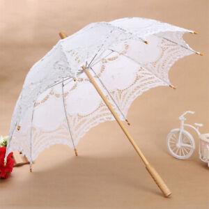 Dentelle-Ombrelle-De-Fleur-Lace-Parapluie-Parasol-Blanc-Partie-Mariage-ZCM