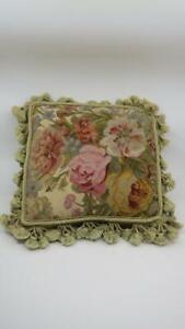 Chelsea-Textiles-FLORAL-Needlepoint-Petit-Point-Pillow-Tassels-Aubusson-Flowers