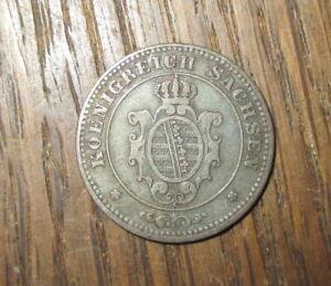 1863-B-Koenigreich-Sachsen-1-Pfennig-Erhalt-durchaus-SS