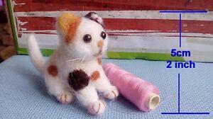 Needle-Felted-Animal-little-dot-baby-cat-Wool-Art-Sculpture-ooak