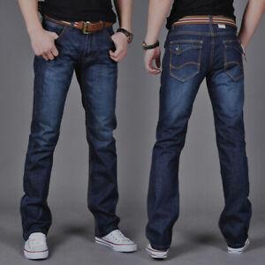 Pantalones Vaqueros De Moda Para Hombre Rectos Ajustados Comodo Elastico Casual Ebay