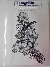 CLEMATIS FLOURISH - CLING MOUNTED RUBBER STAMP INDIGOBLU