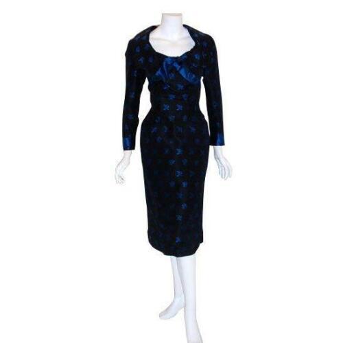 CEIL CHAPMAN 1960s Black and Blue Silk Cocktail D… - image 1