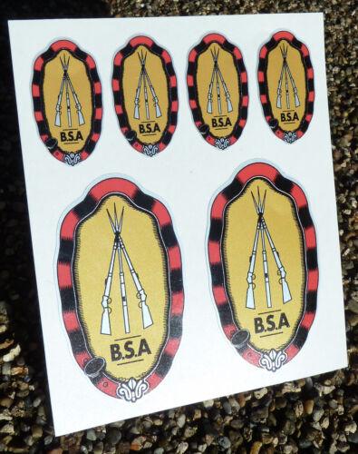 BSA Crest Vintage Cycle Bike Frame Decals Stickers metallic ink