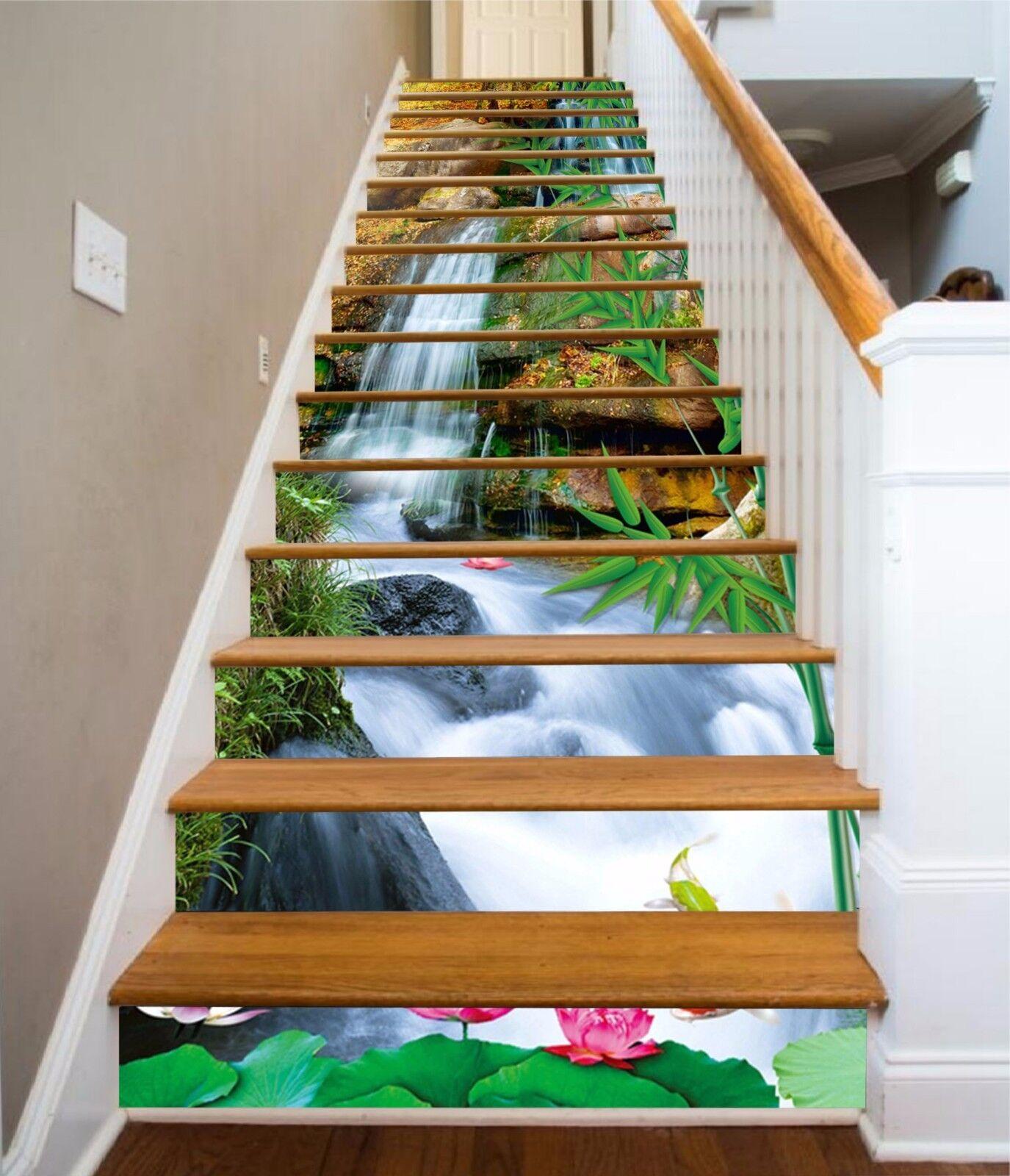 3D Bamboo Lotus 783 Stair Risers Decoration Photo Mural Vinyl Decal Wallpaper AU