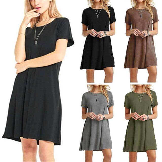 Women Solid Summer Long Blouse Short Sleeve Loose Casual Mini Dress Shirt Tops~
