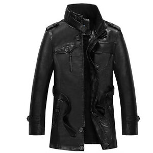 HOT-Mens-WINTER-WARM-PU-Leather-Coat-Fur-Parka-Jacket-Trench-BLACK-Coat-OVERCOAT