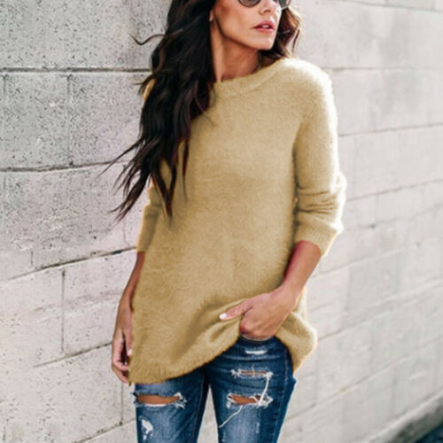 Womens Winter Long Sleeve Shirt Lady Warm Sweater Jumper Pullover Fitted Tops