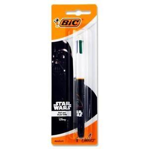 Neuf Bic Star Wars 4 Colours Shine Stylo-bille-métallique Ou Corps Noir Pk1-afficher Le Titre D'origine