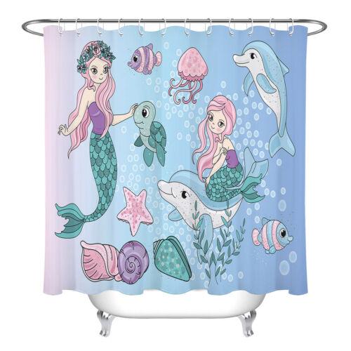 "Magic Fairy MERMAIDS Ocean Kids Bath Waterproof Fabric Shower Curtain Set 72//79/"""