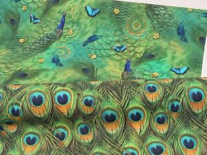DIGITAL-Designer-Green-PEACOCK-Birds-Feathers-Cotton-Curtain-Fabric-Upholstery