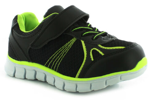 UK Size New Boys//Childrens Black Lace Ups//Touch Fastening Trainers