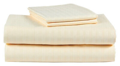 Full Size Beige 400 Thread Count 100/% Cotton Sateen Dobby Stripe bed Sheet