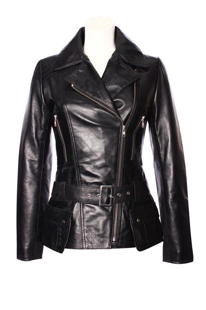 'féminin' Femmes Rétro Noir Style Motard Créateur Véritable Veste Cuir